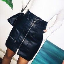 Momoluna Woman new 2017 vintage high waist leather pocket zipper mini skirts womens jupe faldas mujer etek gonne rokken skirt(China (Mainland))
