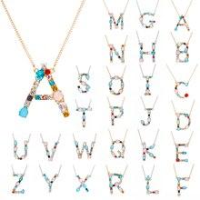 Многоцветный CZ Шарм ожерелье Мода 26 Алфавит Начальная A-Z письмо кулон ожерелье Красочный Кристалл Золотая Серебряная цепочка Ожерелье