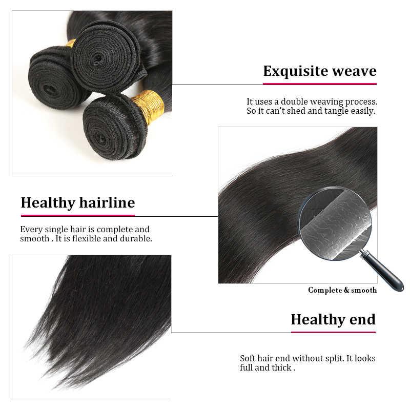 30 дюймовые бразильские волосы переплетения пучки Remy натуральный цвет человеческие прямые 3 пучка волос