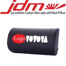 Embroidery car emblem Carbon fiber style headrest soft Neck Pillow for toyota honda nissan mazda mitsubishi suzuki Accessories цена и фото