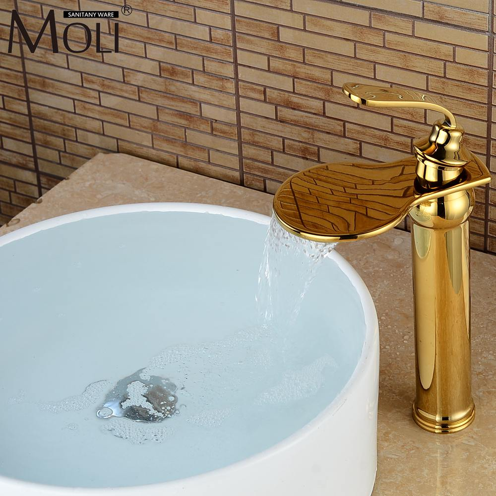 Luxury Waterfall Gold Crane Bathroom Sink Faucet Tall Hot and Cold Water Mixer Tap Copper Basin Sink Faucets infos bathroom led waterfall water tap