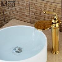Luxury Waterfall Gold Crane Bathroom Sink Faucet Tall Hot and Cold Water Mixer Tap Copper Basin Sink Faucets