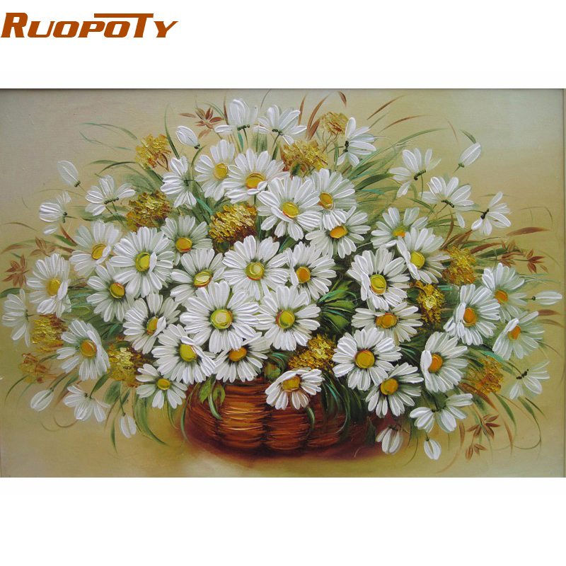 Ruopoty vintage flower 4050 diy painting by numbers kit for Diy flower canvas wall art