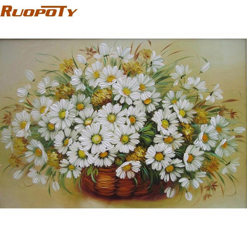 RUOPOTY marco flor DIY pintura por números Kit colorear por números ...