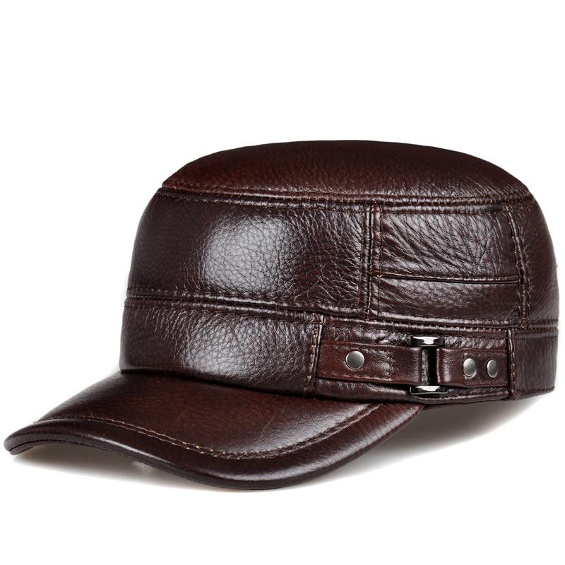 RY108 TOP Male Earmuffs Genuine Leather Flat Army Hats For Men Winter Ear Head Warm Chapeau Hombre Leisure Fishing Baseball Caps