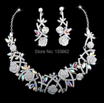 Wholesale Necklace earrings set Elegant Porcelain Flower color AB Crystal Rhinestone Bridal wedding Jewelry set Free Shipping