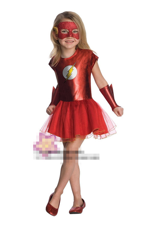 CaGiPlay new Girls the flash superhero cosplay costumes fantasia vestido halloween fancy Kids Tutu dress for carnival party