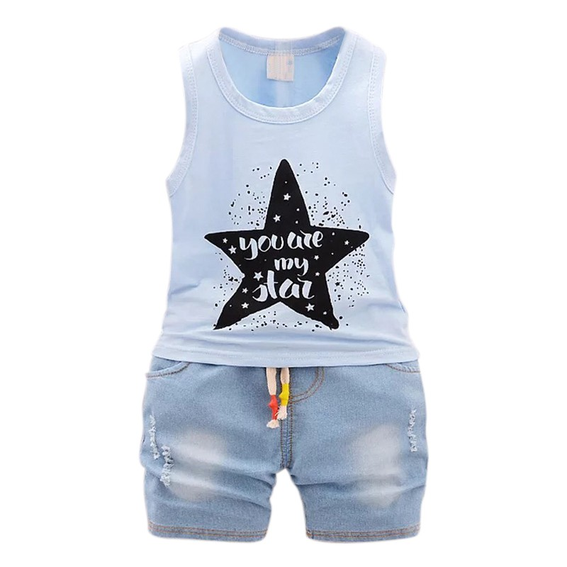 Summer Children Clothing Baby Boy Fashion Cotton Sleeveless Star Print Top+Denim Shorts Baby Boys Clothing Suit 2pcs M1