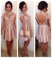Pink Lace Cocktail Gown Sexy High Neck Appliques Backless Women Wedding Party Dress