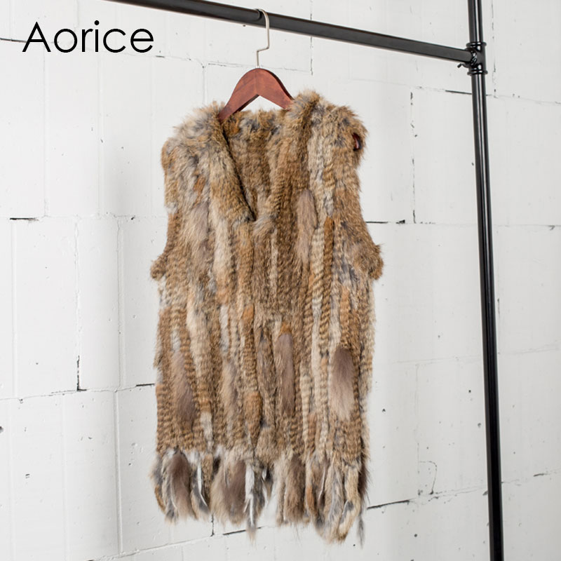VR031 Knitted Real Rabbit Fur Vest /jacket/coat  Winter Warm Women Genuine Fur Outwear(China)
