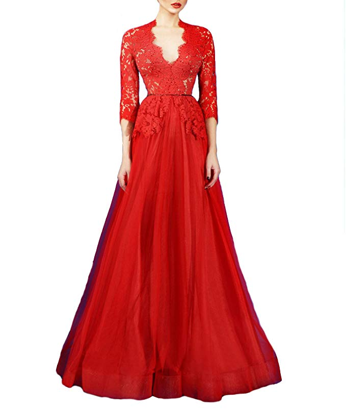 2019 Women's Lace Applique 2/3 Long Sleeves Zipper Tulle A-line Wedding Dress Vestidos De Noiva