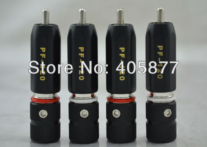 4Pieces ACROLINK PF-120 Rhodium Plated RCA Plug Telfon Insulated 9mm Cable Phono Connector