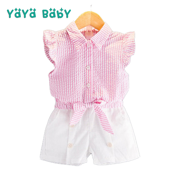 af2d3dd807cf 2 3 4 5 6 7 Year Girls Suits 2018 New Summer Style Kids Clothes for Girls  Striped Shirts White Shorts Children Clothing Set
