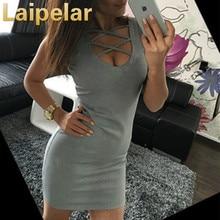 купить Deep V-Neck Lace Up Bandage Dress Hollow Out Knee-Length Solid Tunic Stretch Sexy Lady Tank Dress Women Club Party Dress дешево