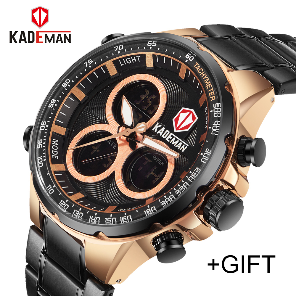 Luxury Brand KADEMAN Men Sports Watches Men's Waterproof LED Digital Quartz Clock Male Military Stainless Steel Wrist Watch mens luxury sports stainless steel digital led military date quartz wrist watch