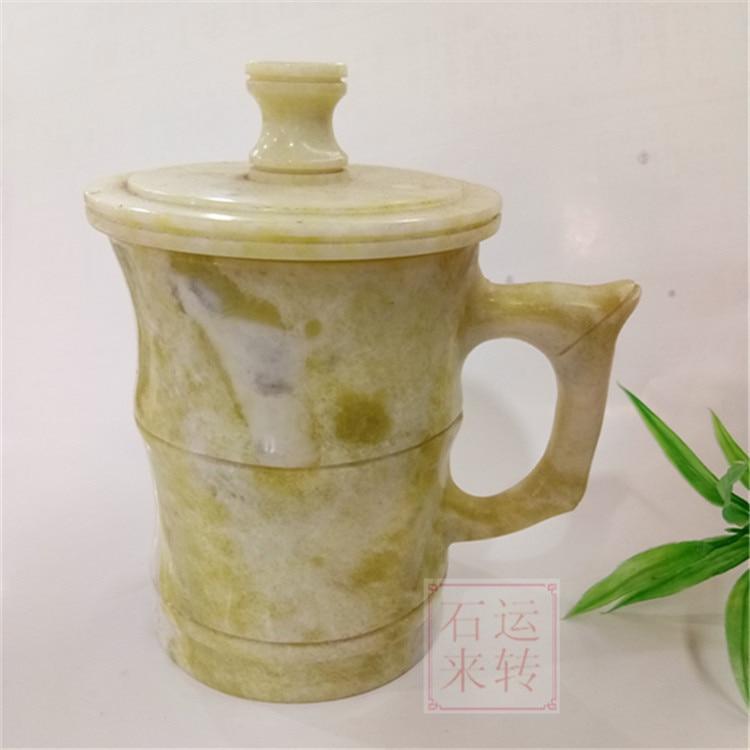 Lantian jade sculpté jade thé tasse à la main
