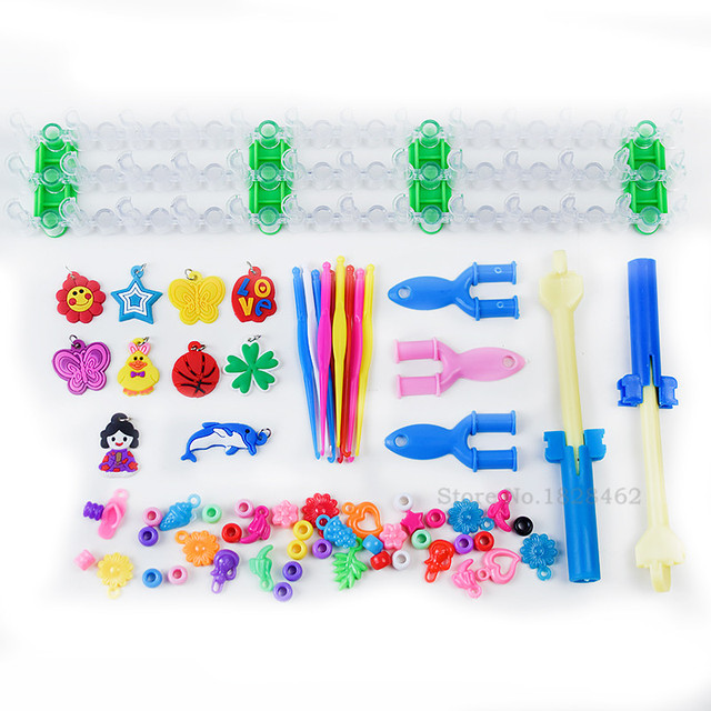 High Quality Rubber Loom Band Kit Kids DIY Bracelet Silicone Bands PVC BOX Kit Set Weave Bracelets