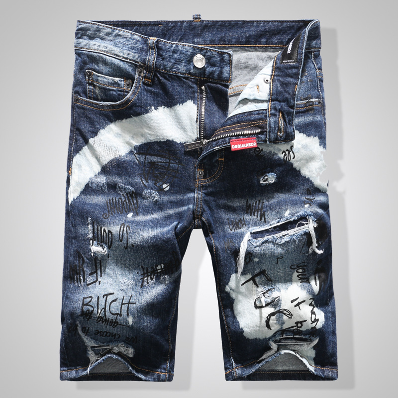 summer Style famous brand men Shorts   jeans   luxury Men denim trousers zipper Patchwork Slim blue hole Shorts   jeans   for men 7920