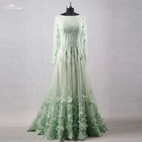 RSE764 Real Pictures Yiaibridal 3D Flowers Arabic Long Sleeve Emerald Green Evening Dress