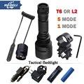 Modo 1 led 5 modo T6 L2 lanterna Tática cree luz do flash XML T6 XM-L2 lanterna led À Prova D' Água Recarregável 18650 bateria