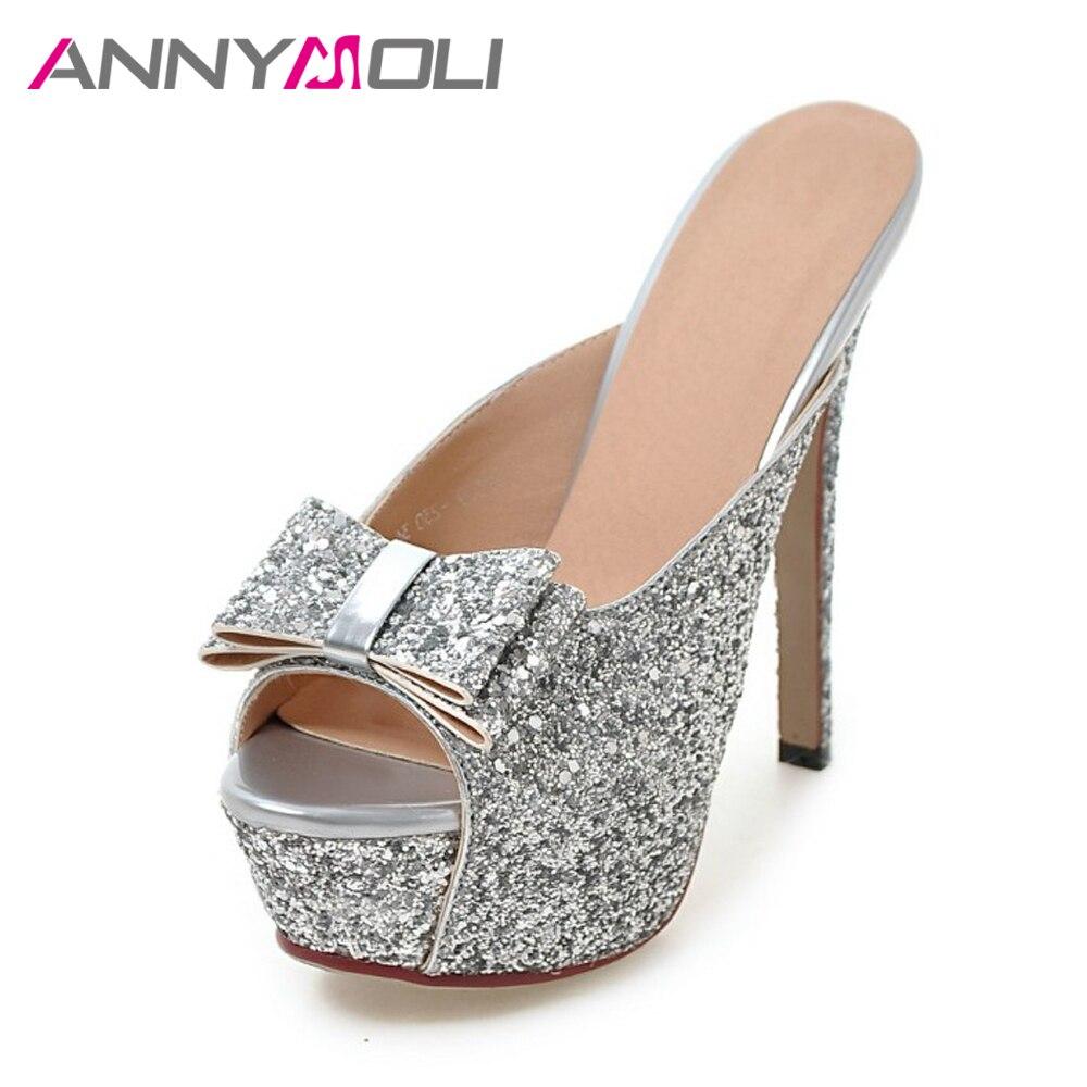 ANNYMOLI Dames Sandalen Extreme hoge hakken Dames Platform Platform Boog Dames Feestschoenen Open neus Dunne hakken Zilveren schoenen Maat 43