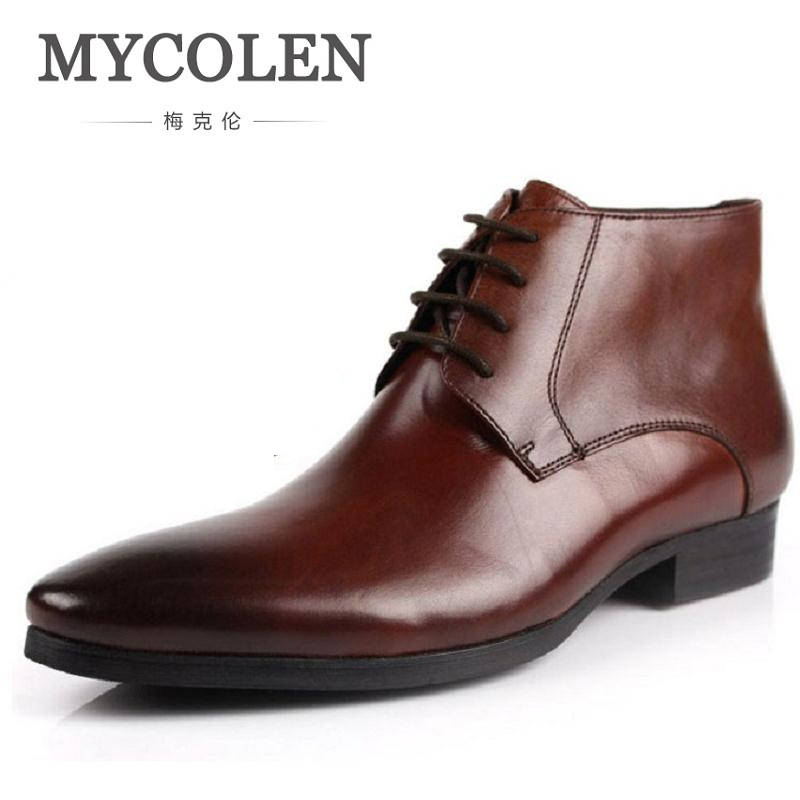 MYCOLEN Handmade Pointed Toe Genuine Leather Men Boots Fashion Botas Hombre High Top Winter Shoes Men Ankle Motorcycle Boots