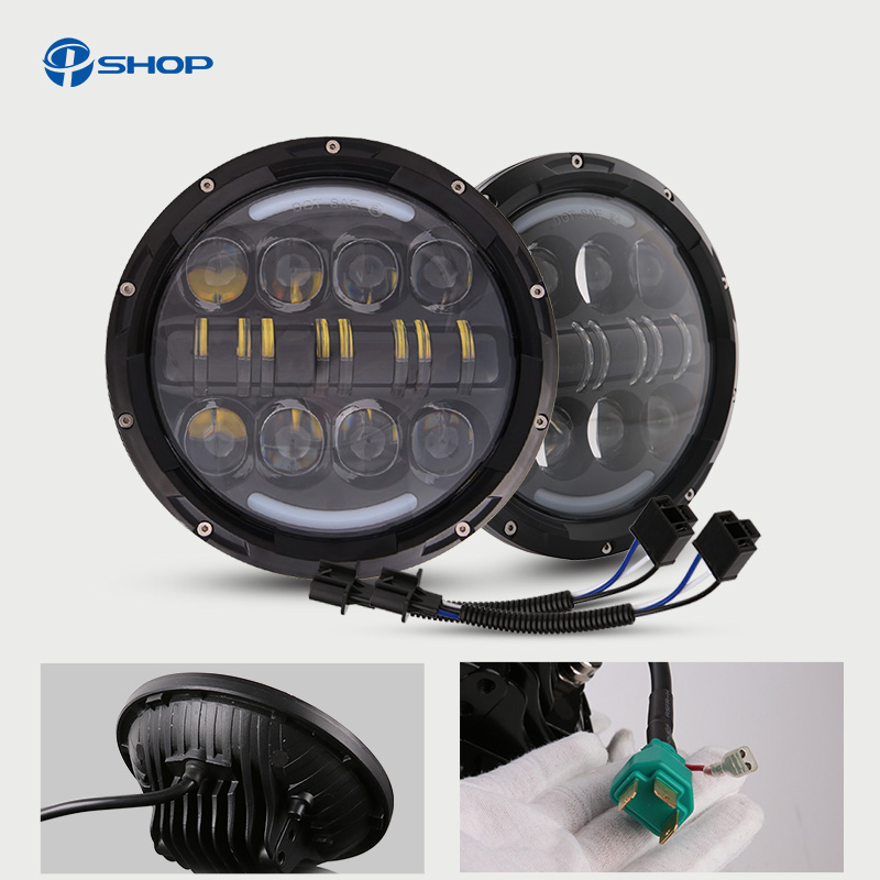 7 inch 80w Round LED Headlight with DRL High Low Beam Led Chip for JEEP Wrangler 2007-2015 Jk Tj Fj pair for 7 inch round headlight 12v 24v dc high low beam and angel eye led for jeep wrangler jk tj harley davidson motorcycle