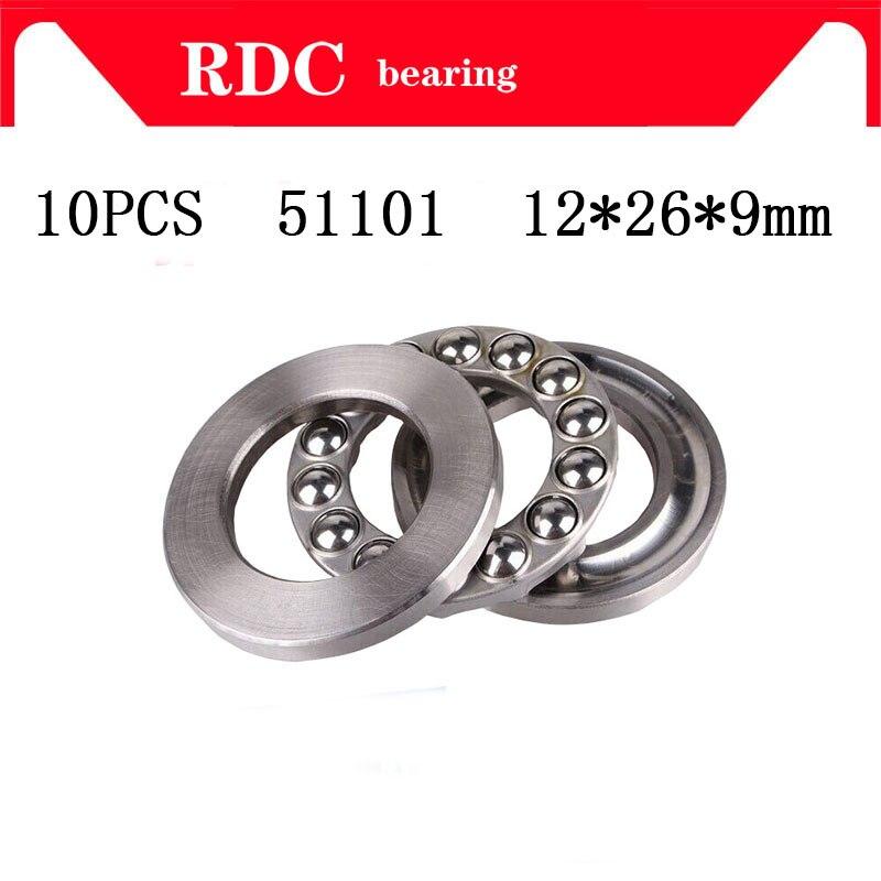 Free Shipping  10PCS 51101 12*26*9mm 8101 High Quality Axial Ball Thrust Bearing 3-Parts 12mm X 26mm X 9mm Factory Sales