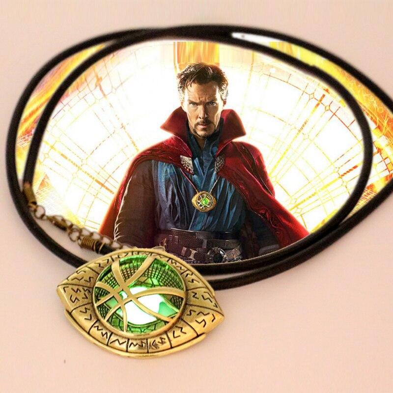 Más nuevo doctor Strange collar resplandor en forma de ojo oscuro antiguo bronce 6 cm * 4.3 cmpendant con cuerda de cuero película cosplay joyería