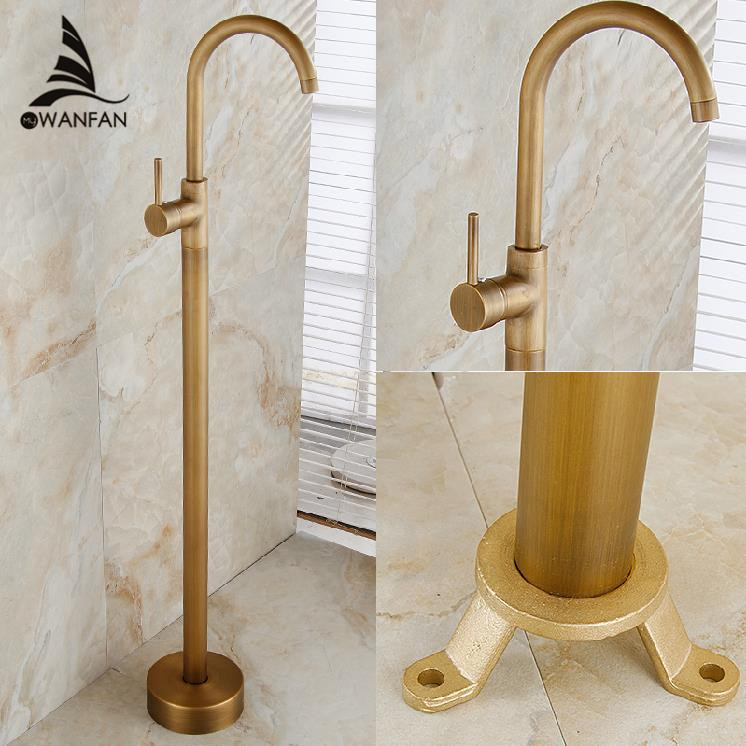 Bathtub Faucets Antique Color Floor Mounted Free Standing Bathtub Faucet Shower Set Tub Filler Mixer Tap For Bathroom HK-8660 sognare new wall mounted bathroom bath shower faucet with handheld shower head chrome finish shower faucet set mixer tap d5205
