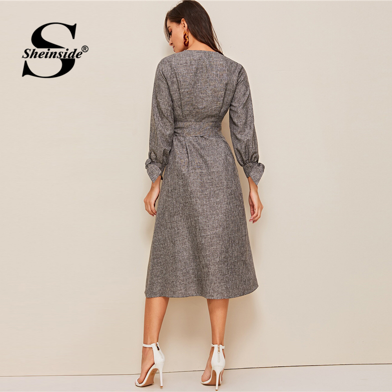 Image 4 - Sheinside Grey Elegant Front Button Detail A Line Dress 2019 Spring Lace Up Cuff Dresses Ladies Solid V neck Midi Dress-in Dresses from Women's Clothing