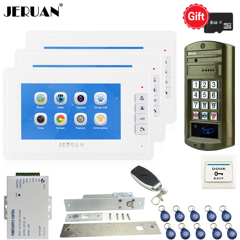 JERUAN 7`` LCD Video Door Phone Voice/Video Recording Intercom System kit Waterproof password Access Mini Camera 1V3 Doorbell jeruan 7 lcd video doorbell voice video recording intercom system kit 2 monitors waterproof password access mini camera 1v2