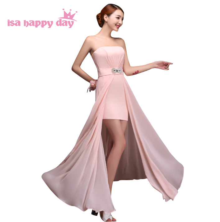 8fd0fe9a8f2e robe de soiree sexy princesse beadings pink chiffon occasion high low  strapless dresses for women prom