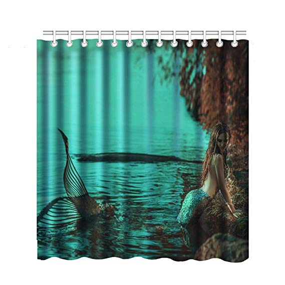 real people play mermaid shower curtain set sexy high cold girl bathroom curtain 3d