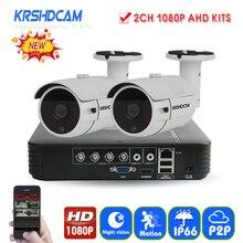 KRSHDCAM 4CH AHD DVR Security CCTV System 30M IR 2PCS 1080P CCTV Camera Outdoor Waterproof Camera Home Video Surveillance Kit