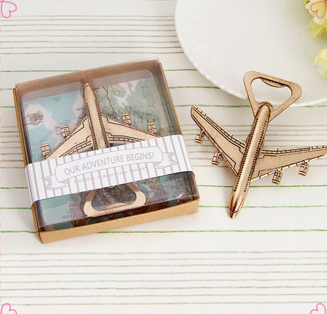 10pcs Shabby Chic Vintage Airplane Beer Bottle Opener Travel Wedding Favors Party Gifts Rustic Souvenirs