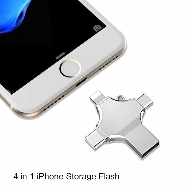 4 In 1 Type-c Pendrive USB Flash Drive Memory Stick For IPhone Android PC 256G 128GB 32G 64G