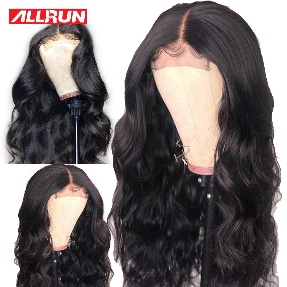 Allrun 4 4 Lace Closure Wigs With Baby Hair Brazilian Body Wave Lace Front Human Hair