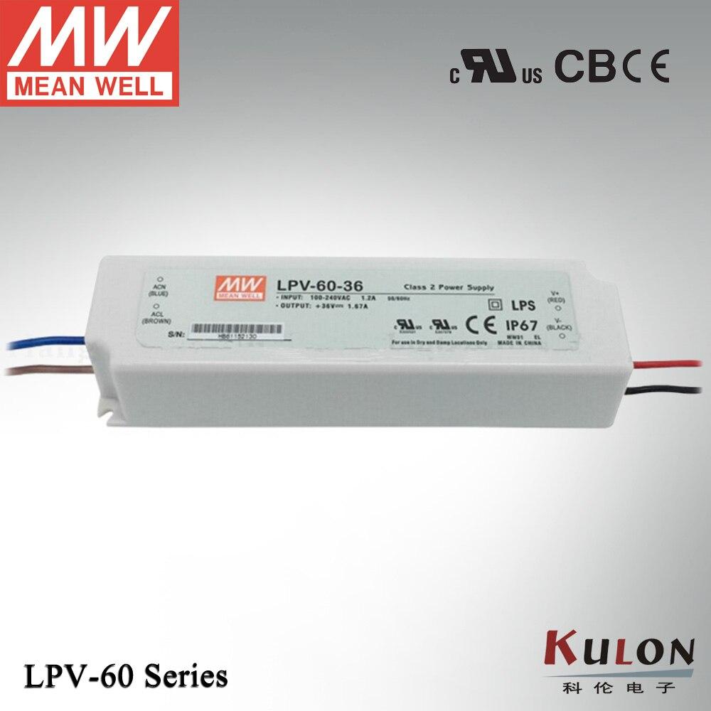 Original Meanwell LPV-60-36 60W 1670mA 36V Power Supply IP67 UL CB CE EMC for LED lighting meanwell 24v 35w ul certificated lpv series ip67 waterproof power supply 90 264v ac to 24v dc