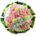 Розовый белый искусственные розы свадебный букет с зелеными листьями для люкс для невесты букет свадебный декор цветы