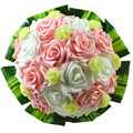Pink white artificial roses wedding bouquet with green leaves for bridal bridesmaid bouquet wedding decor flowers