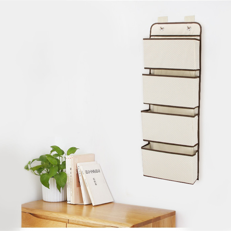 Image 4 - High Quality 4 Pockets Door Back Wall Bedside Cabinet Wardrobe Hanging Bag Storage Organizer for Sundries Underwear ToysHanging Organizers   -
