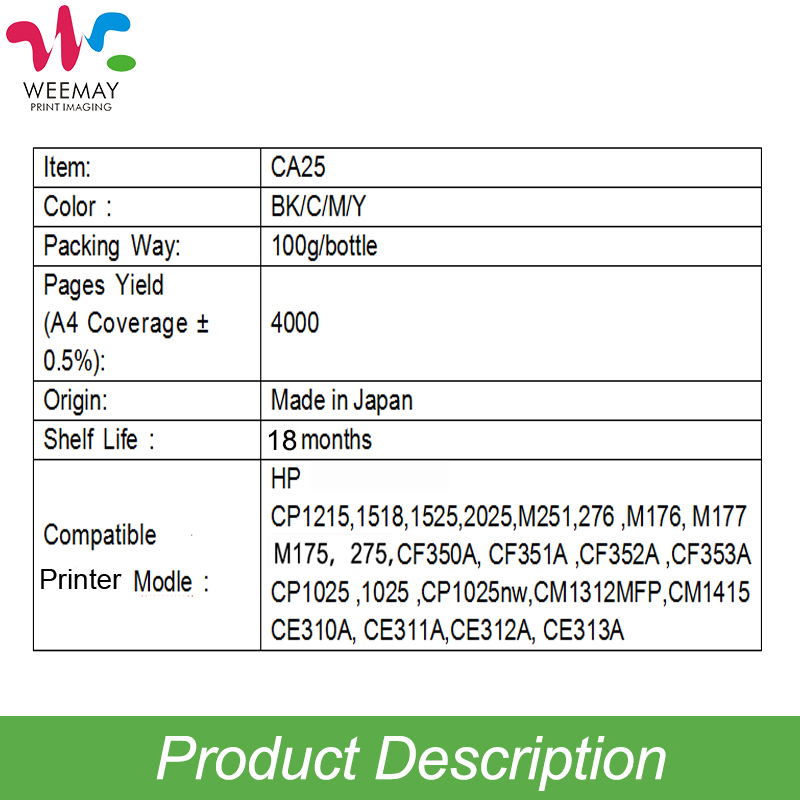 100g/bag CE310A 311A 312A 313A  Color toner powder refilled compatible for HP LaserJet CP1025/1025nw/M175a/M275/M175nw 1
