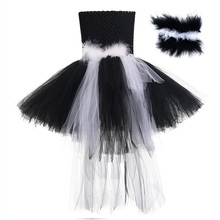 Black White Halloween Costume for Kids Knee Length Sleeveless Party Dress with Long Tail Feather Headband Skunks Furry