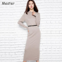 Women Half Turtleneck Long Sleeve Cashmere Sweater Dress Solid Long Wool Dress Autumn Winter Knitted Bottoming