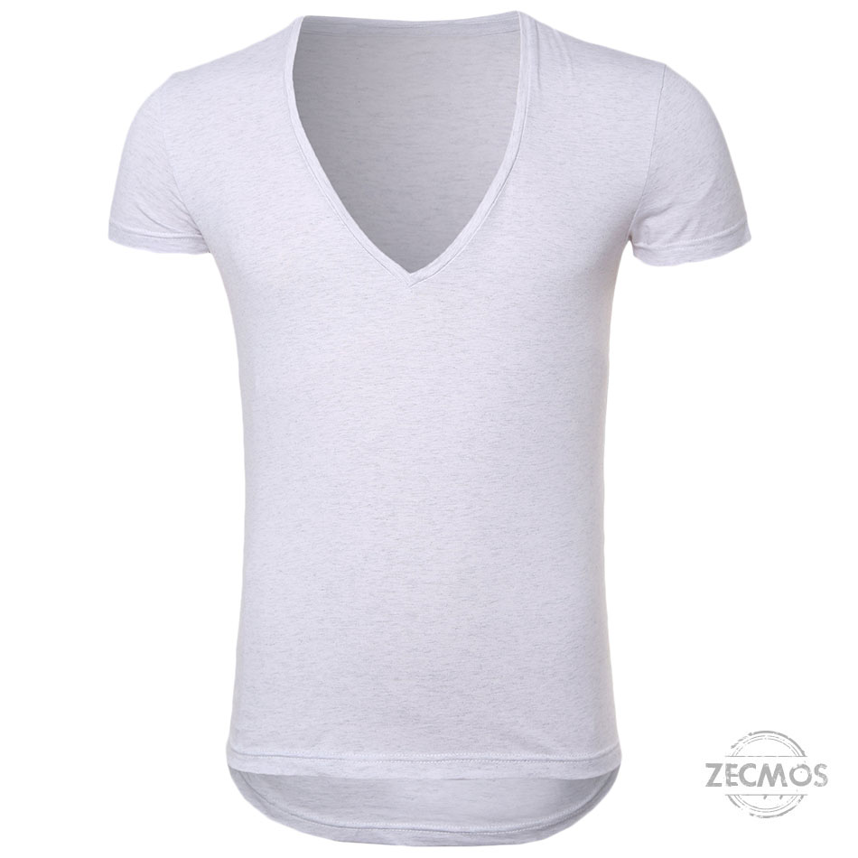 Zecmos Deep V Neck Sexy Men T-Shirt Vintage Short Sleeve Solid Color Muscle Fit T Shirt Men Top Tees Fashion 40