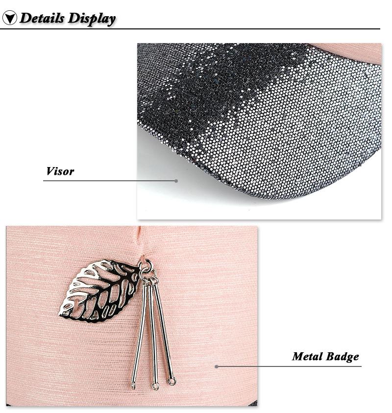 Dangling Leaf Snapback Cap - Brim Glitter and Leaf Ornament Detail Views