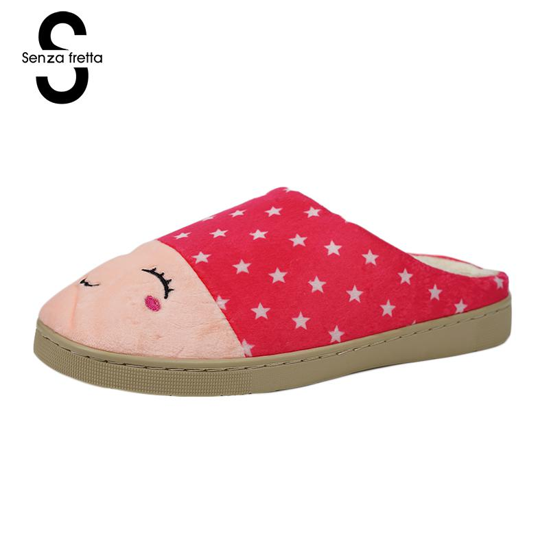Senza Fretta Winter Women Slippers Plush Warm Soft Slippers Cotton Cute Lovers Home Slippers Indoor Shoes Woman Plush Size soft plush big feet pattern winter slippers