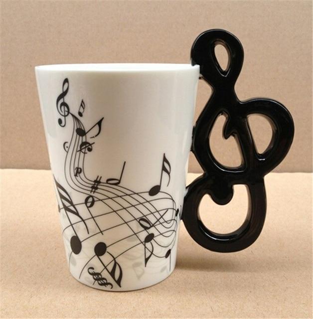 Notas de música taza cerámica té limón leche tazas de café artículos musicales beber nota tazas gran regalo