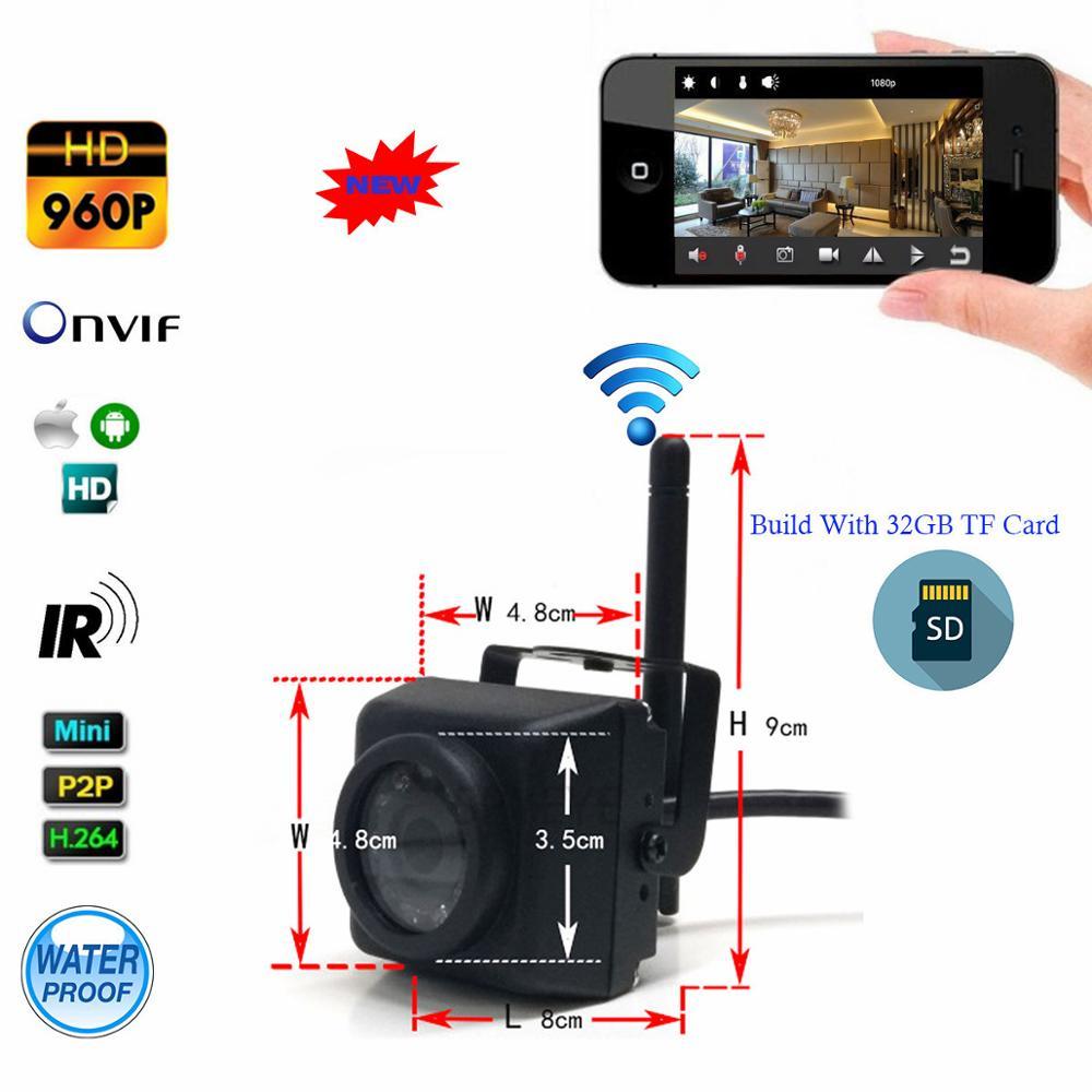 SPYEYE Camhi 1.3MP 960 P Mini Étanche IP66 32 GB TF Carte IR de Vision Nocturne IP Caméra Wifi En Plein Air Pour La Voiture et La Flotte de Véhicules et Oiseau nid